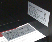 Cabinet Serial Number Sticker